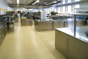 Acrylic floor finish displays beautifully in this open commercial kitchen.