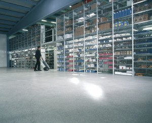 Large distribution warehouse takes advantage of LEED points with new leed approved flooring.
