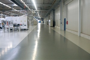 Large warehouse with new LEED flooring product displays new floor.
