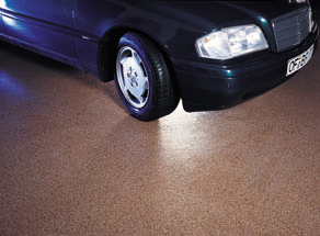 New car rests atop a new concrete coating designed specifically for driveways.