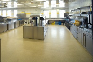 A large kitchen prevented costly downtime by utilizing a self leveling underlay flooring.