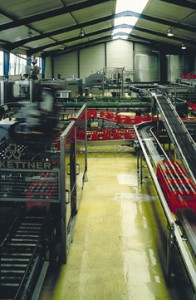 A facility thin cement overlay system sparkles beneath rows of production assembly lines.