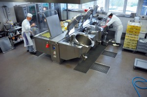Chemicals and industrial resins compose the resistant flooring for this industrial bakery.