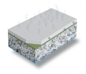 A three dimensional depiction of a self leveling floor compound shows the benefiting qualities inherent to the product.