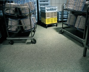 A concrete floor interior sealer gives superior protection to a storage room floor.