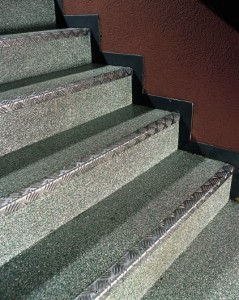 Commercialed building steps offer a  no slip floor system for safety.