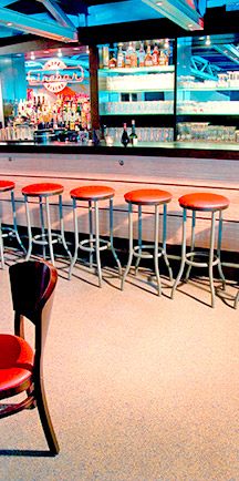 Stools Rest Upon Durable Restaurant Flooring.