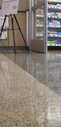 The Best Industrial Floors Used In A Hospital Showing Two Colors That Meet.