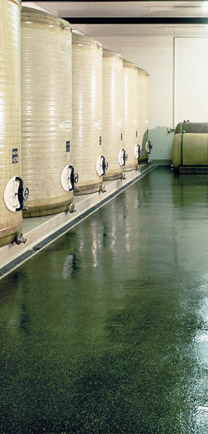The Best Green-colored Industrial Floors Under Beverage Tanks.