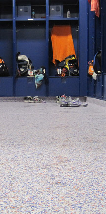 Cleats On Long Lasting Commercial Floors In Locker-Room.
