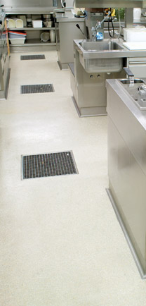 Drains Inset Into Easy To Clean Restaurant Floors.