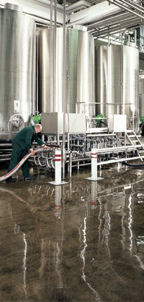 Large Beverage Vats Sit On Quality Floor Coats.