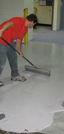 Installation Of Tough Floor Coatings.
