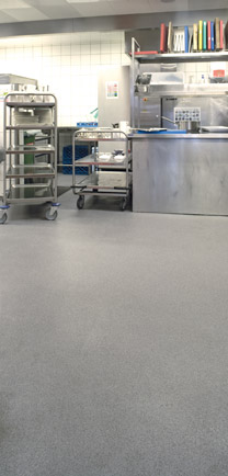 Commercial Kitchen With Poured Flooring Types.