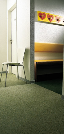 Doctor's Office Hallway With Seamless Flooring Solution.