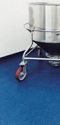 Blue MMA Flooring With Large Steel Vat.