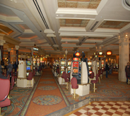 Casinos floorings magnate in multiple colors and patterns for huge lobby entryway.