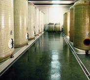 Olive green cement floor sealer protects large holding tank area.