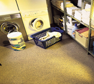 Laundry room flooring resists against chemical abrasion.