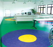 Blue, green and yellow color designs seal school room concretes.
