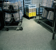 Carts in a containment area can easily be pushed across the floor.