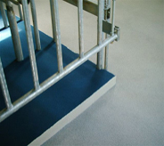 This gate allows entry to step upon the decontamination area floor.