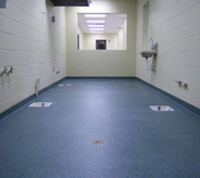 A vibrant blue floor keeps this decontamination area looking clean.