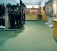 Departments stores pro shop attracts customers with attractive light green poured acrylic floorings.
