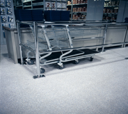 Shopping carts easily roll on this drugstore floor.