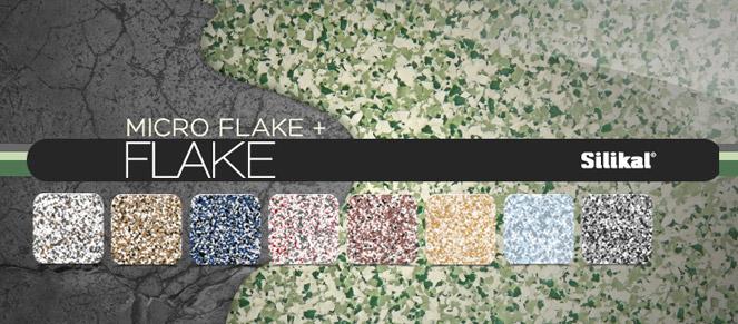 Flake flooring with standard blends below.