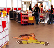 Optional floorings for grocery store means incorporating large oversized floor graphic of company mascot imbedded on surface near check out lanes.