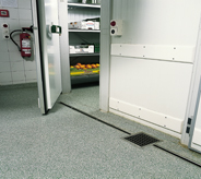 This seamless floor extends from frozen food area to kitchen.