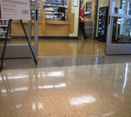 Healthcare flooring by entrance of gift shop.