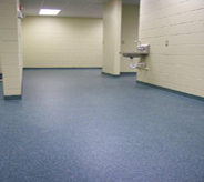 A library bathroom area with a bright blue floor.