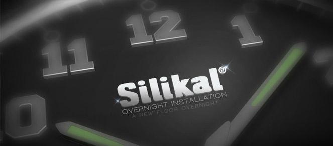 Clock with Silikal logo that says overnight floor installation.