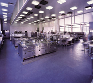 Large hospital kitchen area displays gorgeous blue seamless floor system throughout.