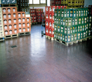 Storage warehouse flooring reflects sunlight revealing a seamless poured system.