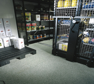 Chemicals can be stored on a solvent resistant floor.