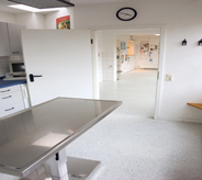 Veterinary clinic examining room displays resisting urines floor coating for maximum hygiene.