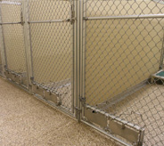 Pet holding pens with resistant veterinary flooring.