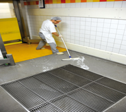 Kitchen worker diligently squeegee's pooled water across waterproofed flooring into large draining grate.